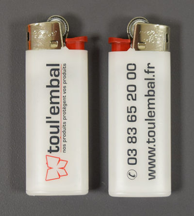 Briquet BIC® MINI blanc, personnalisé au logo de Toul'Embal.