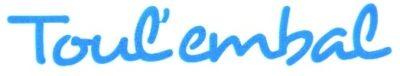 """""""Toul'Embal"""" sous forme de lettres découpées en vinyle adhésif bleu"""