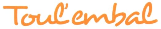"""""""Toul'Embal"""" sous forme de lettres découpées en vinyle adhésif orange"""