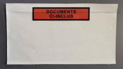 """Pochette porte document imprimée """"documents ci-inclus""""."""