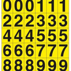 Planche d'étiquettes chiffres et lettres en vinyle jaune.