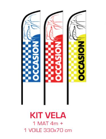 """Kit VELA de drapeaux personnalisables imprimés """"OCCASION""""."""