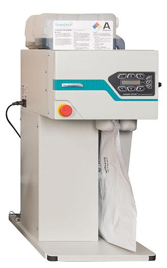 Cette machine de protection et calage en mousse ultra performante, vous est présenté avec ces consommables, sur la photo on voit qu'elle est entrain de remplir un coussin de mousse injecté.