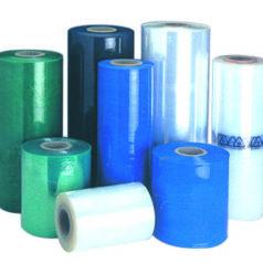 Voici des rouleaux de film étirable CAST machine ou manuel, ils sont de différentes tailles en vert, bleu, noir, transparent et blanc.