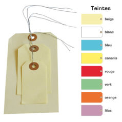 Étiquette américaine avec attache métallique sous divers formats et couleurs disponibles.