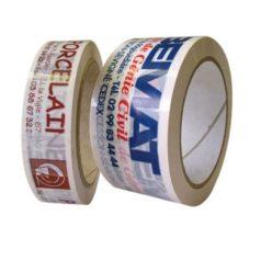 Voici notre ruban adhésif PVC neutre ou imprimé, ici il y a 2 rouleaux, ils sont imprimés en 2 couleurs chacun sur de l'adhésif blanc.