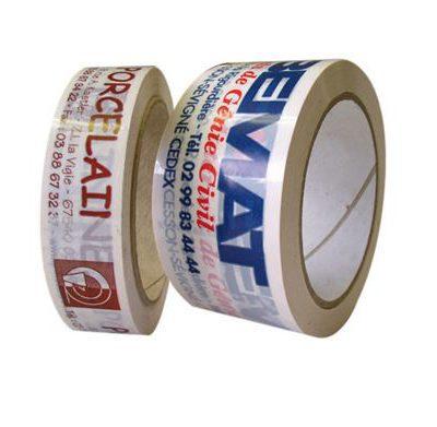Voici notre ruban adhésif PP acrylique techni plus neutre ou imprimé, 2 rouleaux sont côte à côte.