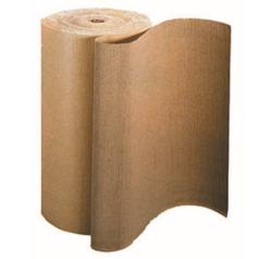 Ici vous pouvez voir un carton ondulé en rouleau, il est de couleur brun foncé.