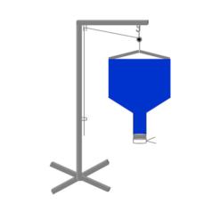 Voici un schéma d'un silo ou distributeur de particule de calage, on voit une potence avec poulie et le silo avec son bec verseur.