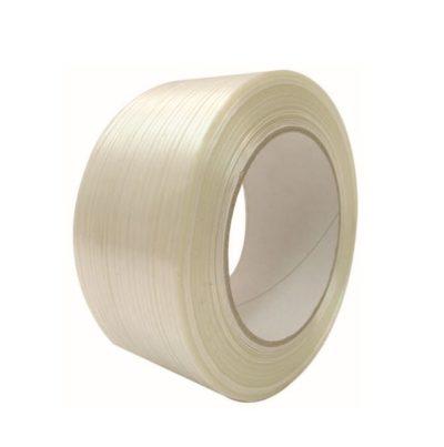 Voici notre ruban adhésif armé fil à fil, ici on voit un rouleau, il est de couleur blanche, on peut très bien voir le détail du fil à fil.
