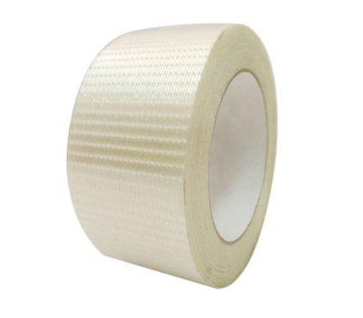 Voici notre ruban adhésif armé chaîné et tramé neutre ou imprimé, ici on voit un rouleau avec le détail de la trame du ruban.