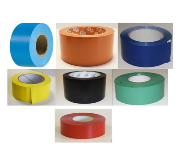 Voici notre ruban adhésif PVC de couleur neutre ou imprimé, ici il y a 7 ruban de couleur : bleu ciel, orange, bleu marine, jaune, noir, vert et rouge.